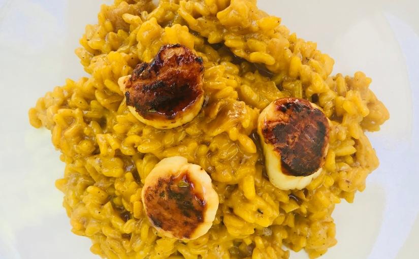 Risotto milanesa (con parmesano) – con plus de vieiras a laplancha