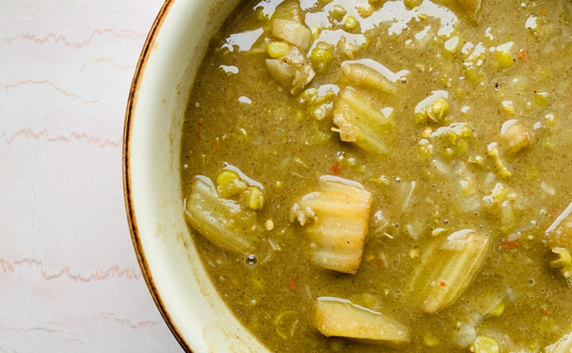 Curry ultracremoso de cardo yguisantes